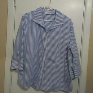 Chico's blue and white stripped button down size 3